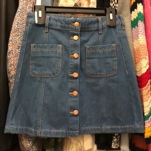 NWT Denim Mini Skirt with Buttons Up the Front